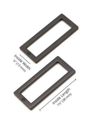 1.5 Black Metal Rectangle Ring Flat