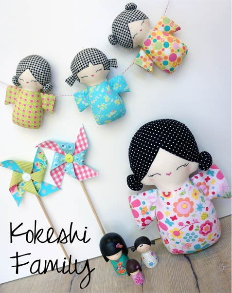 Kokeshi Family Pattern