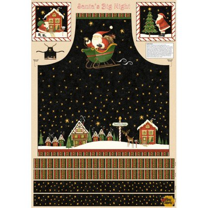 Santa's Big Night Apron Panel