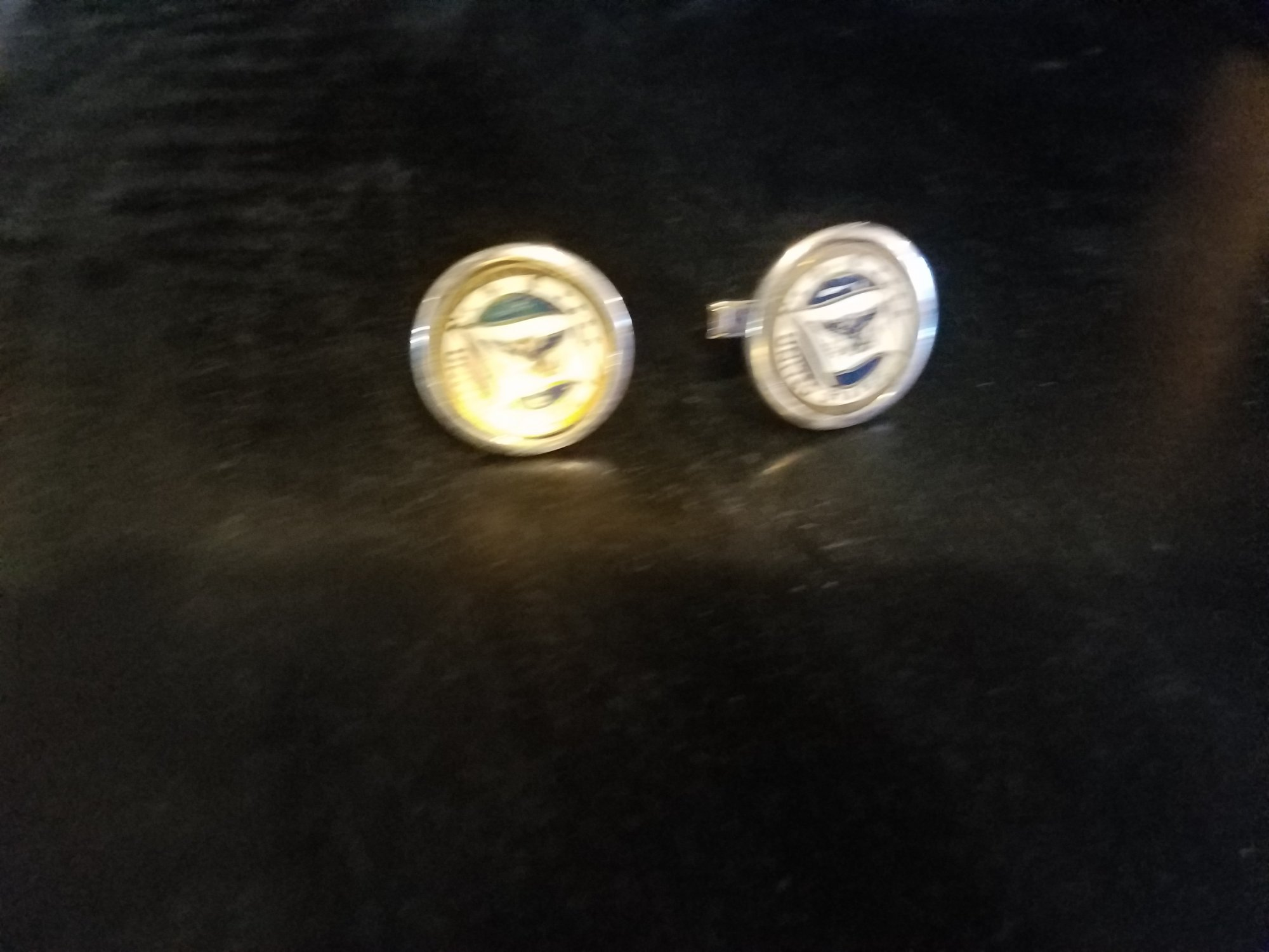 Pair of American cufflinks with flag