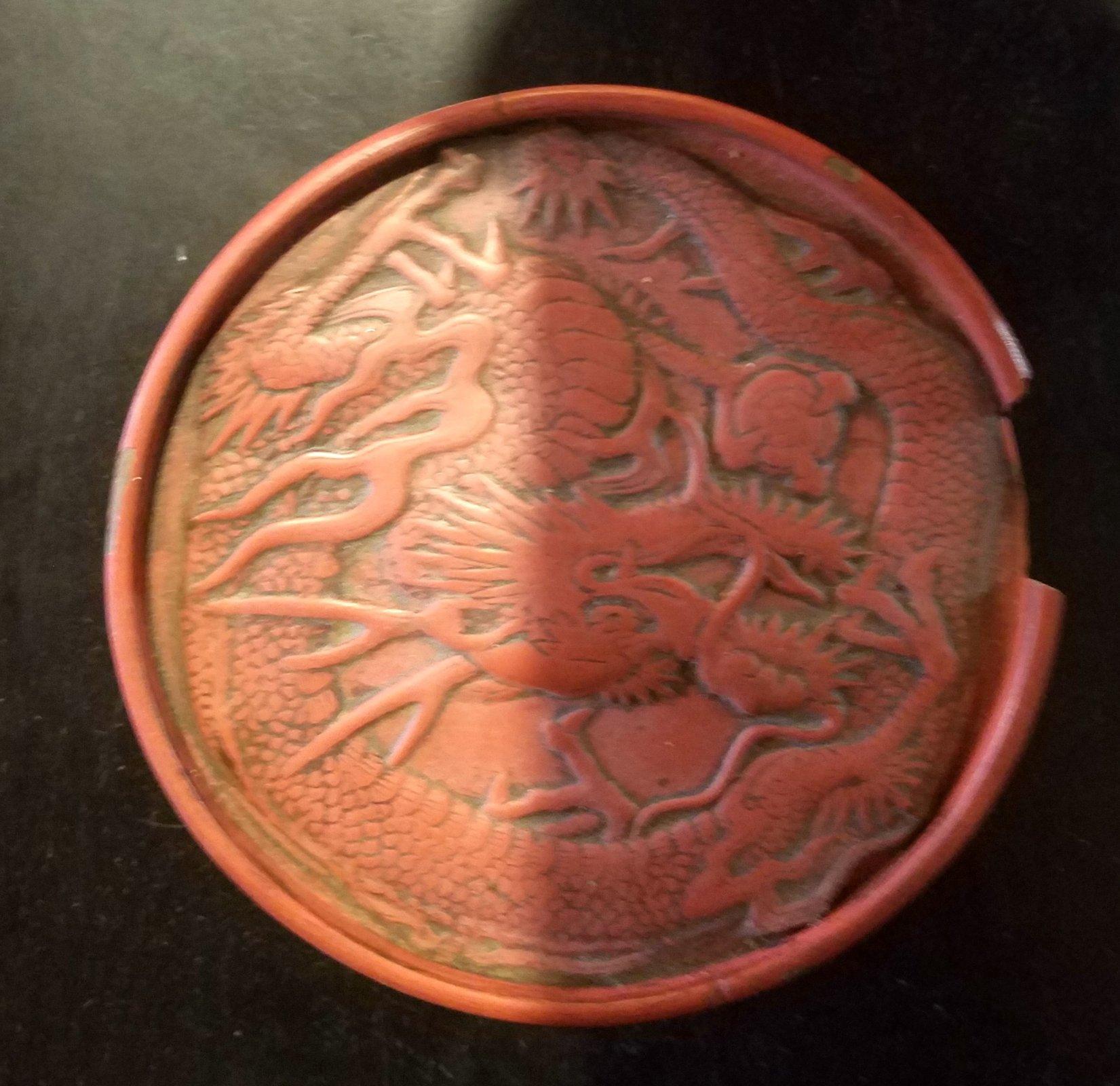 Chinese Cinnabar Disk