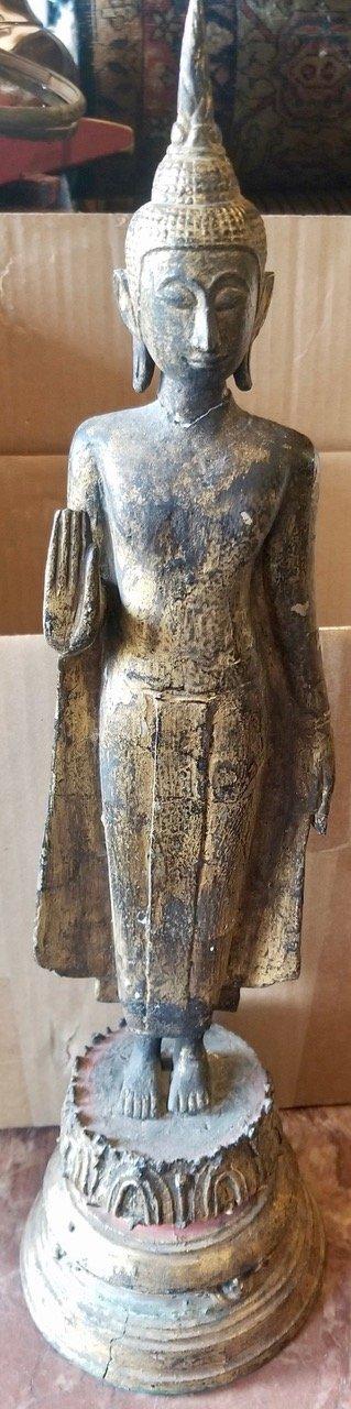 Thai cement filed bronze buddha