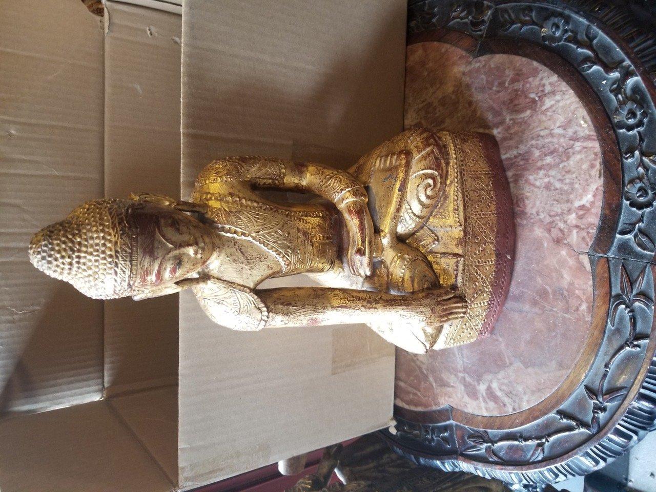 Thai Wooden small seated gild Buddha