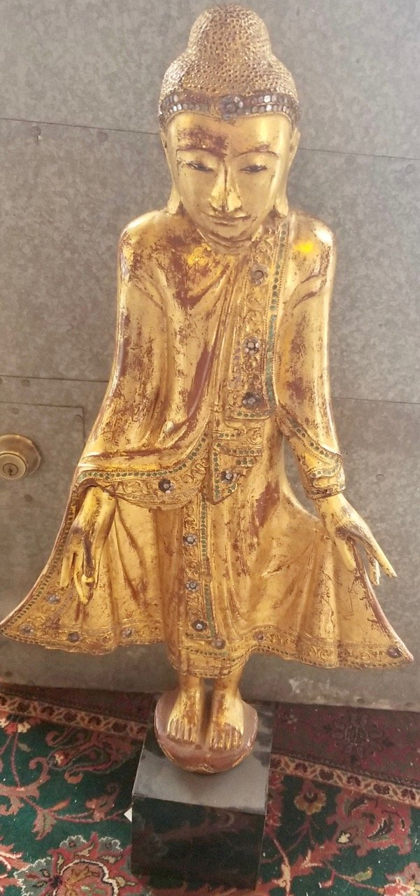 Thai large pair of gilded wooden standing buddha's