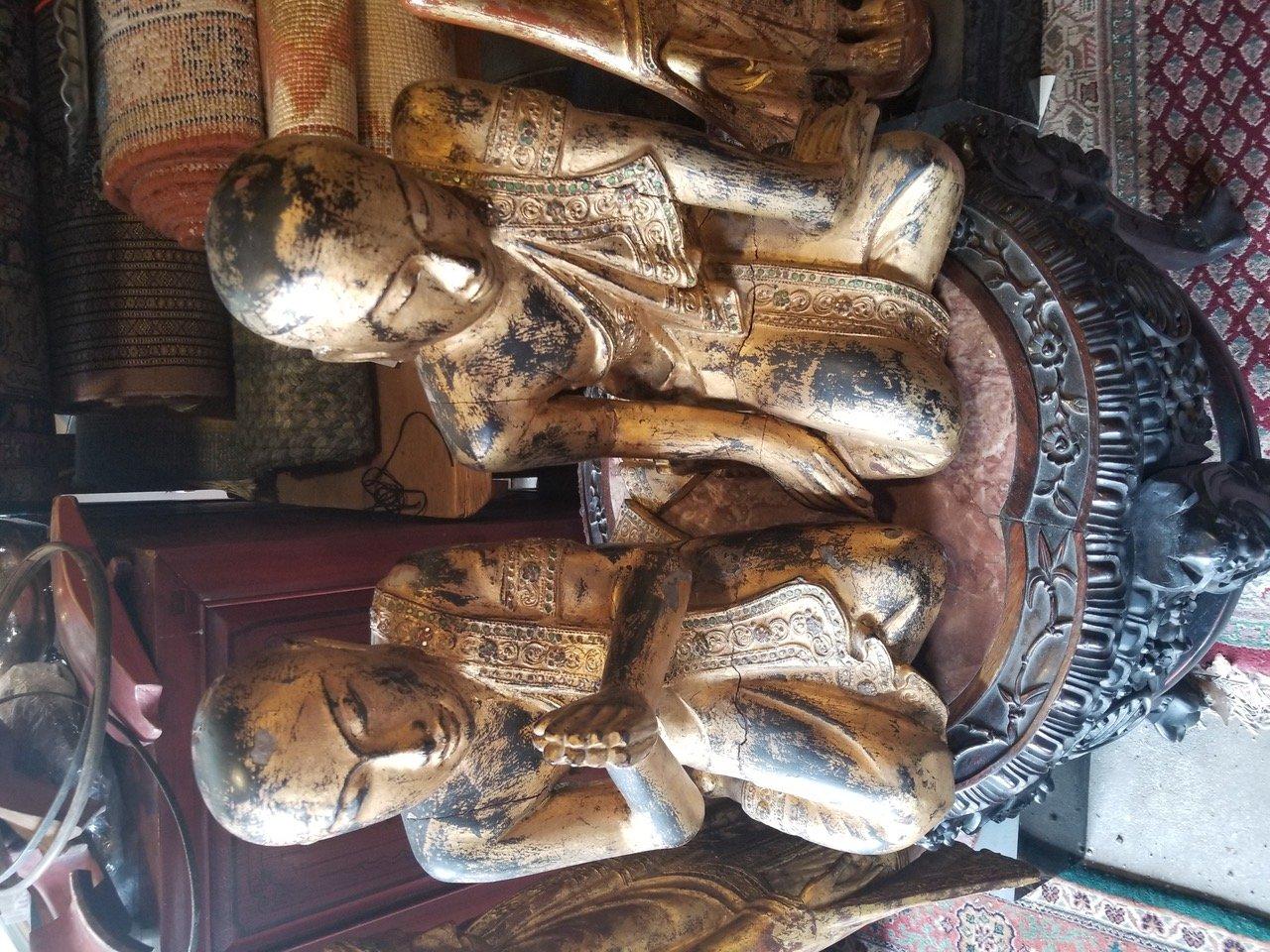 Burmese large gilded pair of Monks
