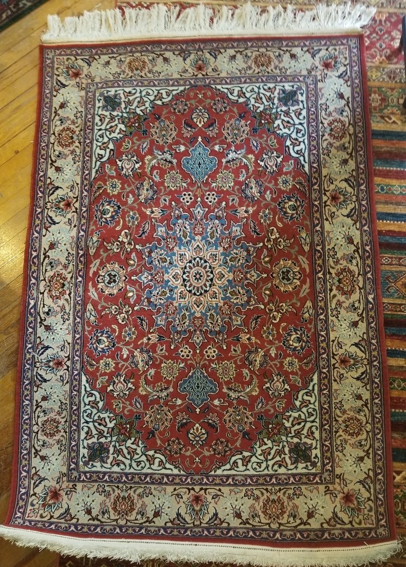 5'7 x 3'7 - Persian Nain - red field, ivory border