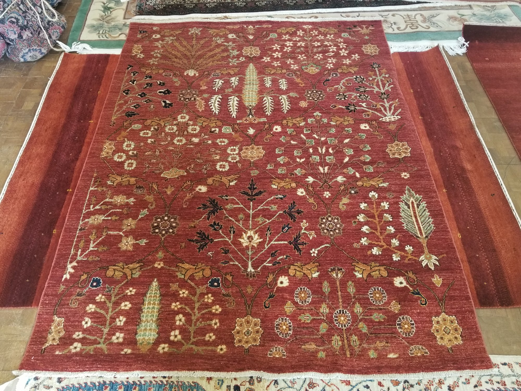 Afghan Kazak 5'1 X 6'7 red field with green, yellow, black and cream accents
