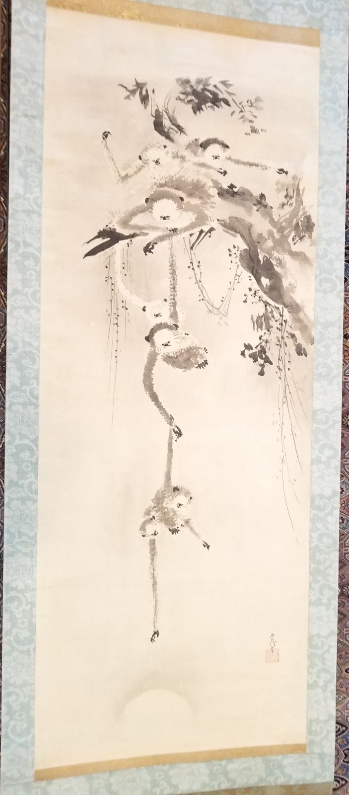 Chinese scroll painting of hanging monkeys