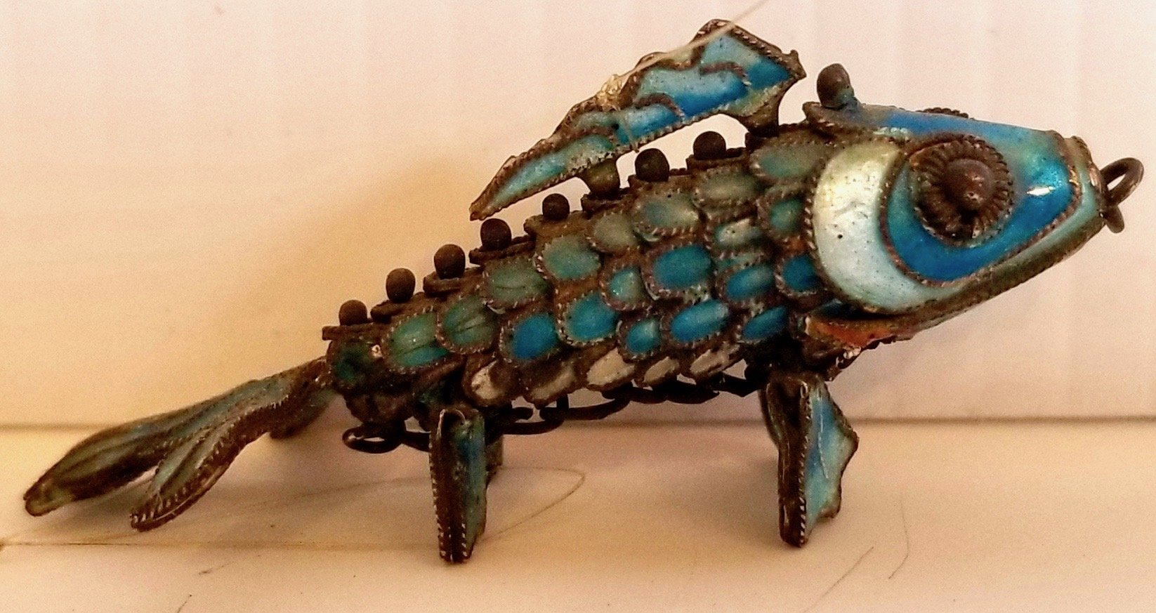 Chinese Metal and Enamel ornamental fish very small