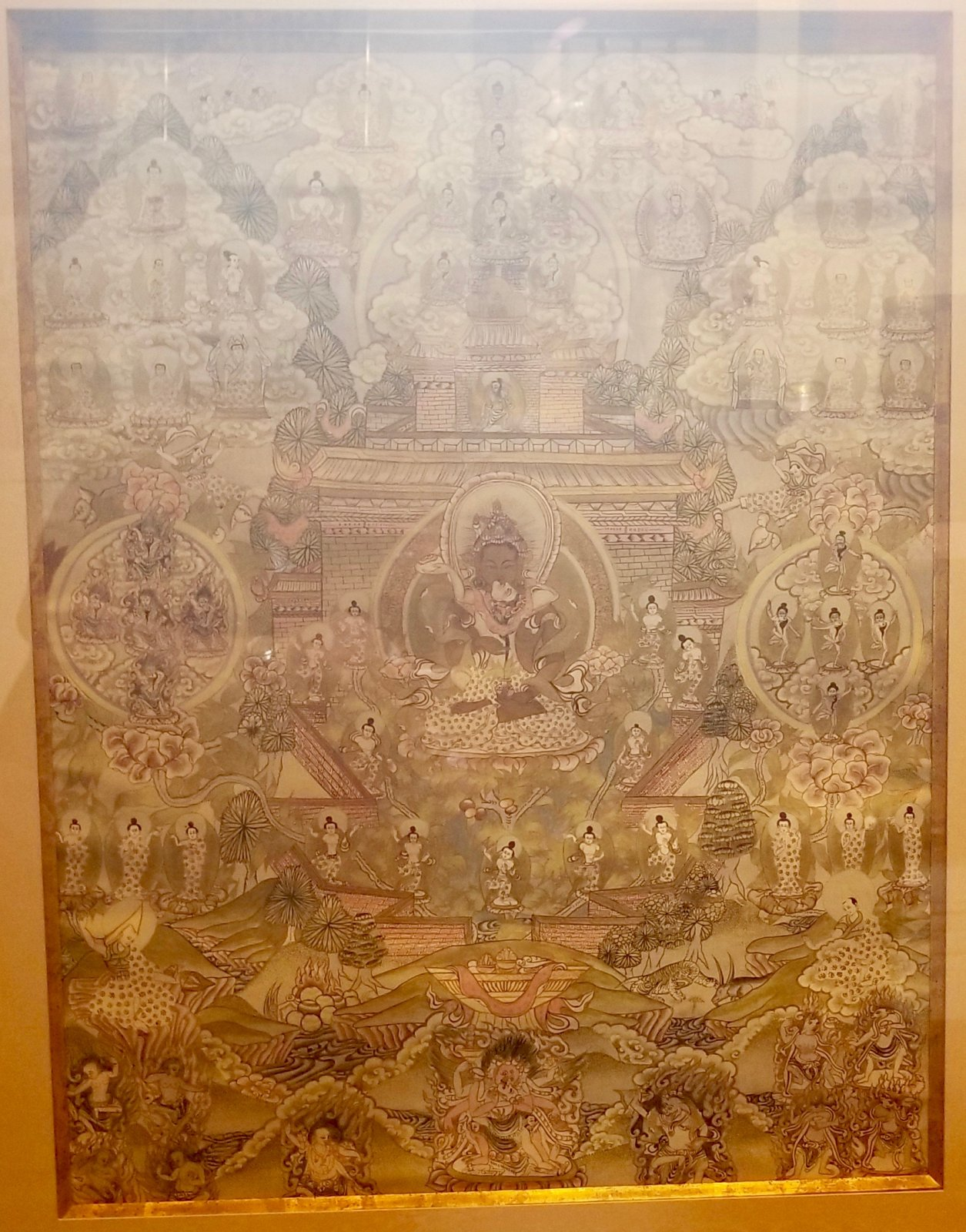 20th century Tibetan framed Thangka