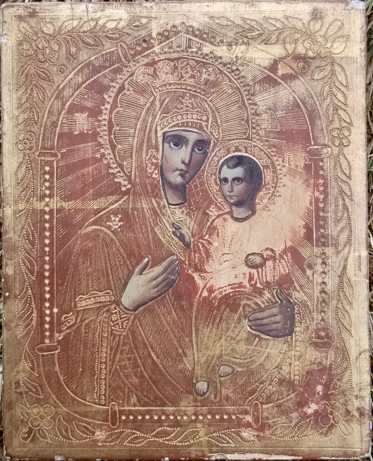 Early 20th century Romanian wooden Icon of a mother and child