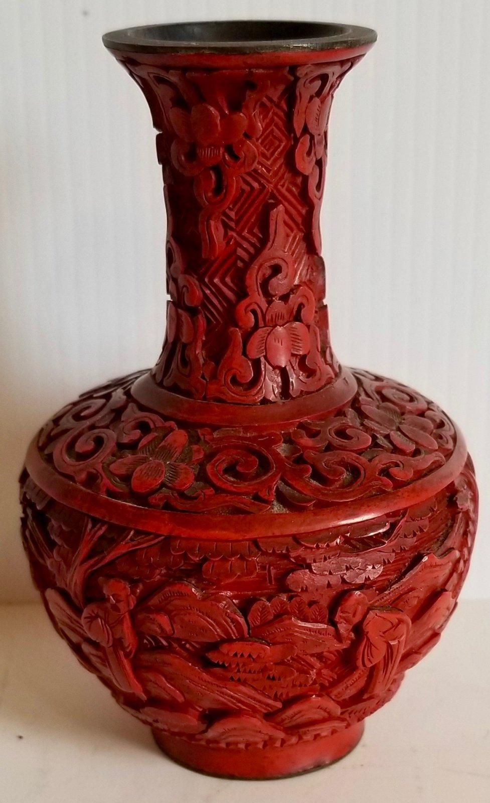 Chinese small cinnabar vase