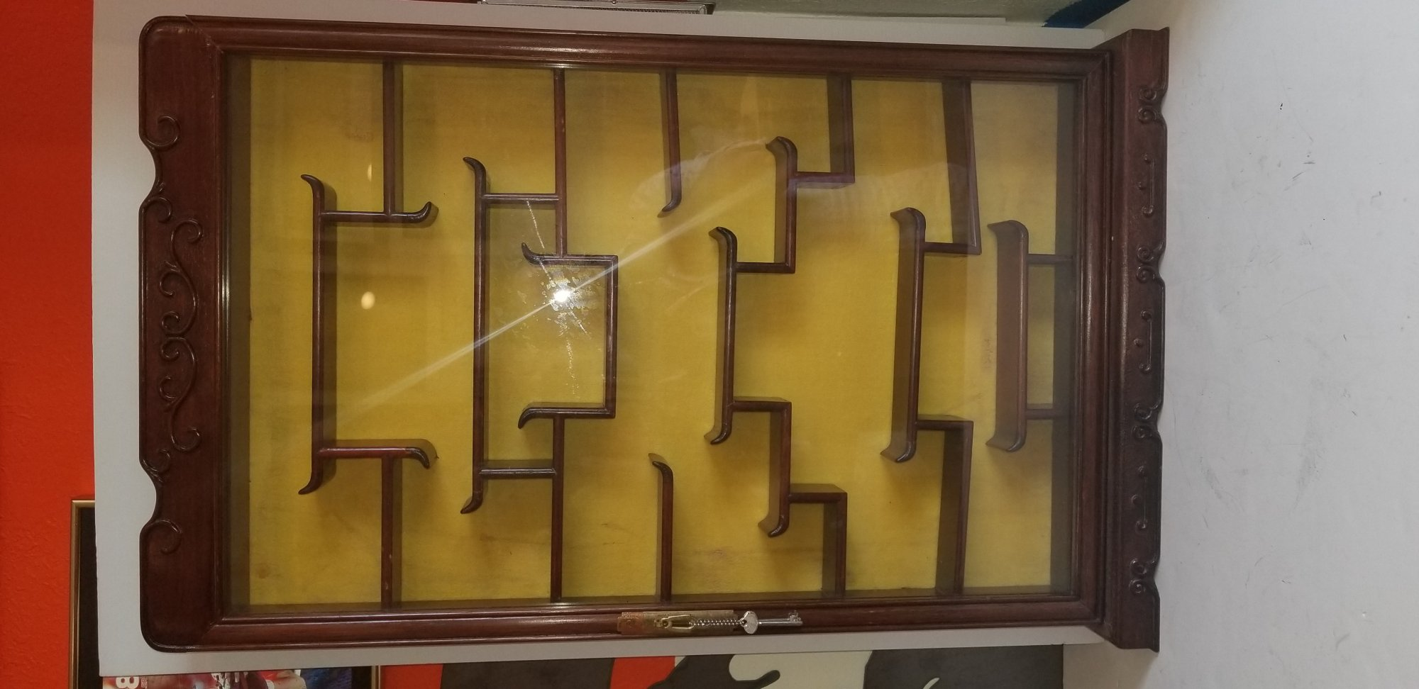 Chinese display case with locking glass door