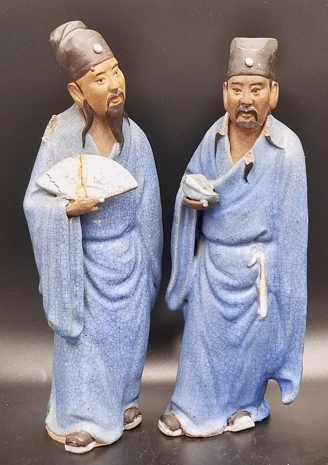 Pair of Chinese ceramic wisemen / mud men PXY