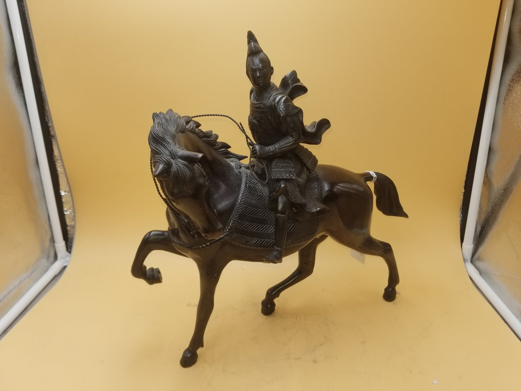 Japanese Bronze horse with Samurai rider TXY