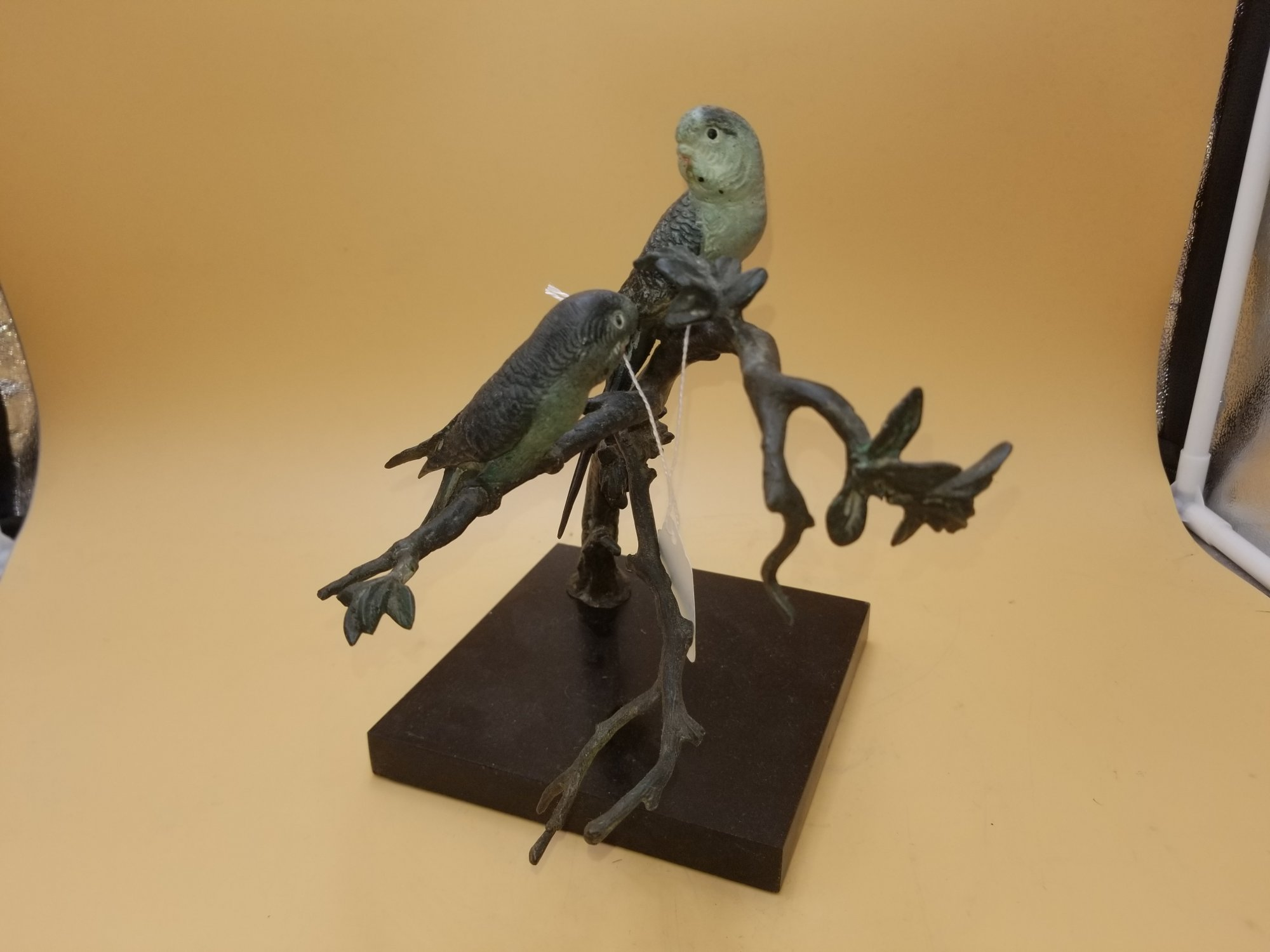 Austrian Bronze of 2 Parakeets on a tree branch SXT