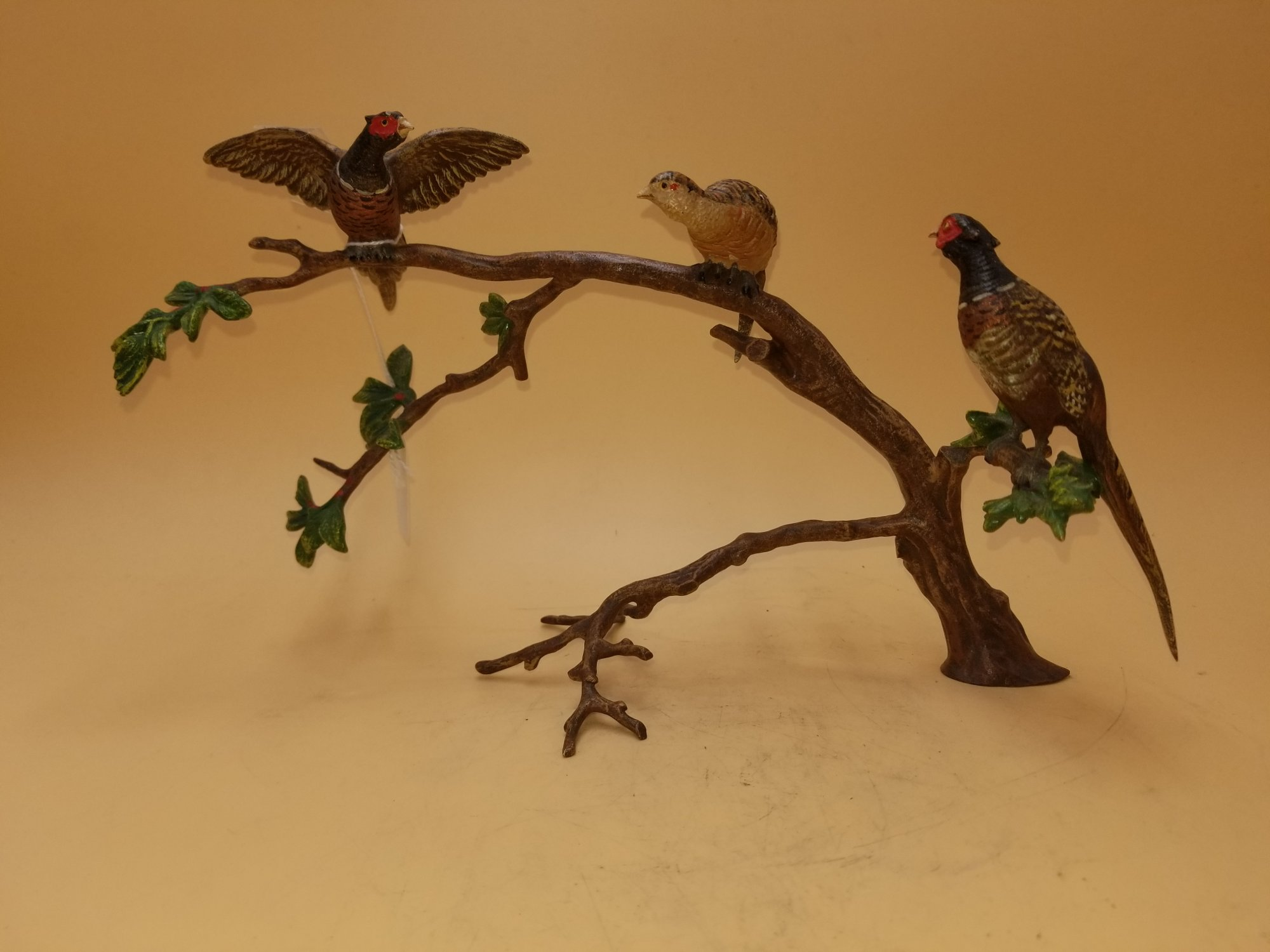 Austrian bronze of 3 pheasants on a tree branch SXT