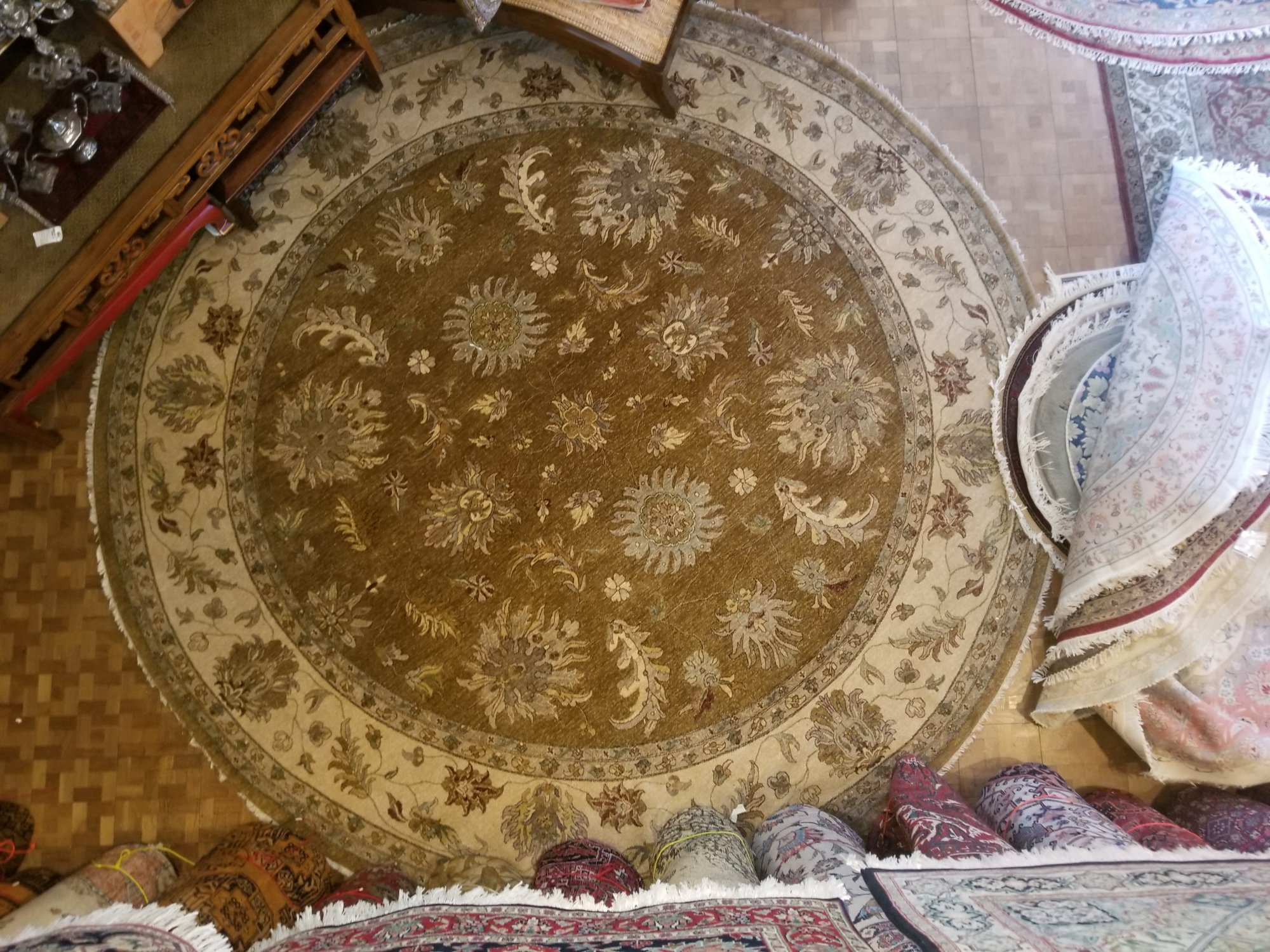 12' X 12' Round Indian made Peshawar large round with a light brown field cream border and other accent colors throughout   UUXZ