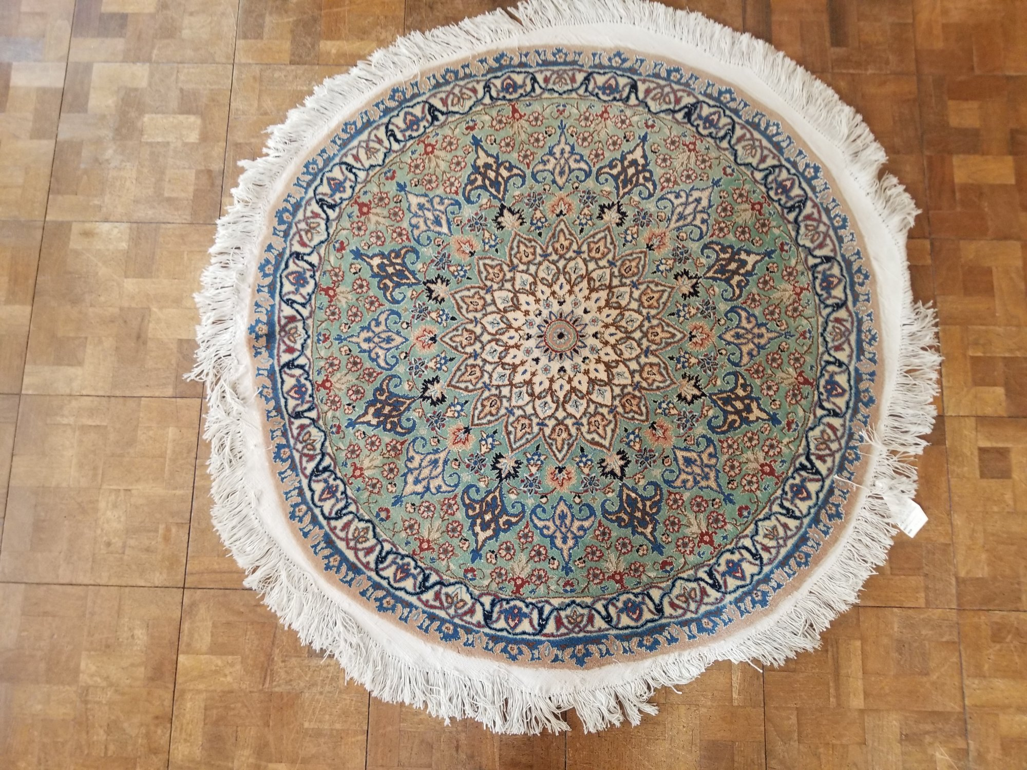 3'6 X 3'6 Persian Nain circa 1970 Mint green field with a cream colored medallion and thin border accented with many other colors like light blue blue brown and rust    HTX