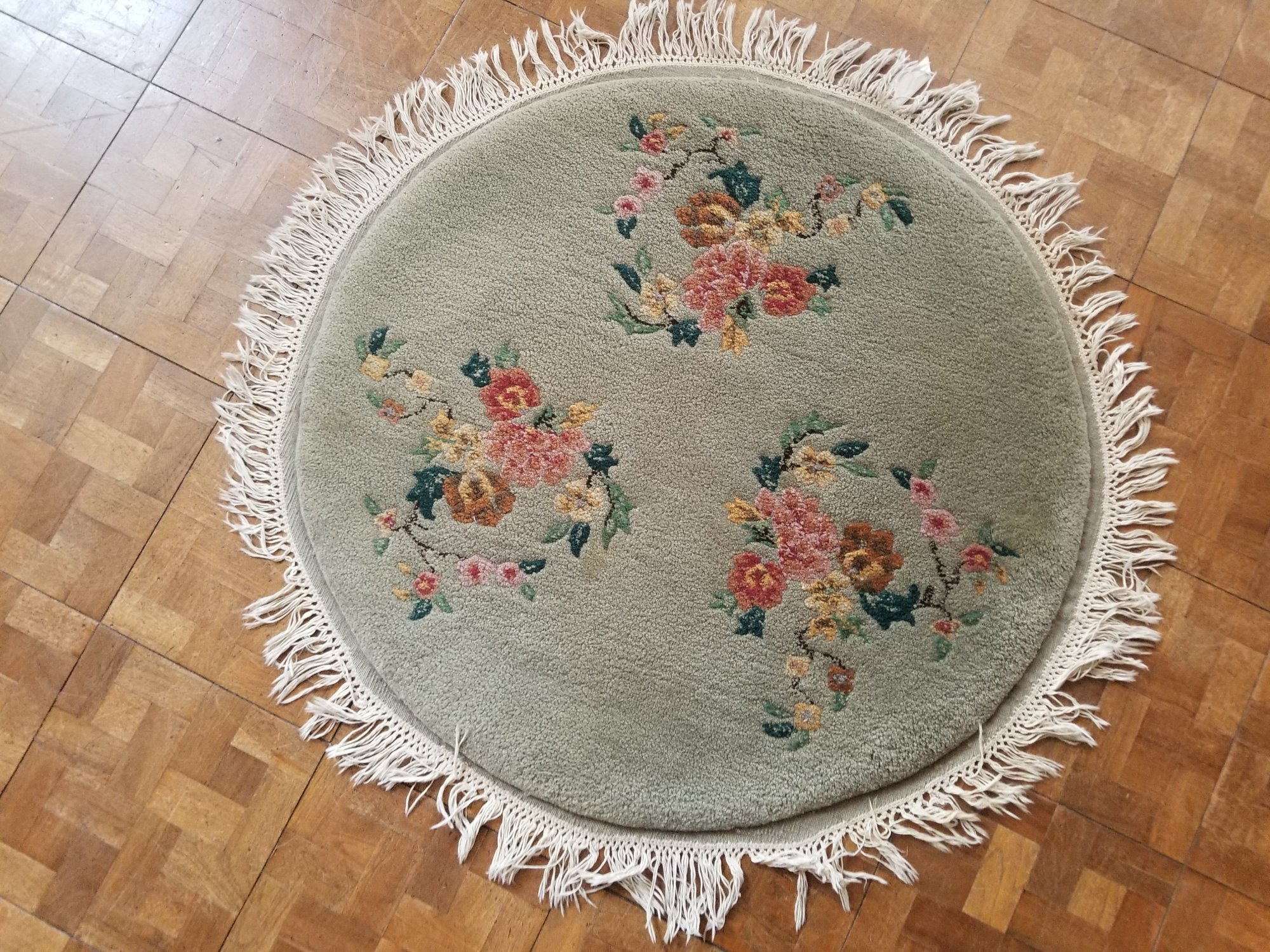 3' X 3' light green field with flowers in pink yellow dark green and brown     PUT