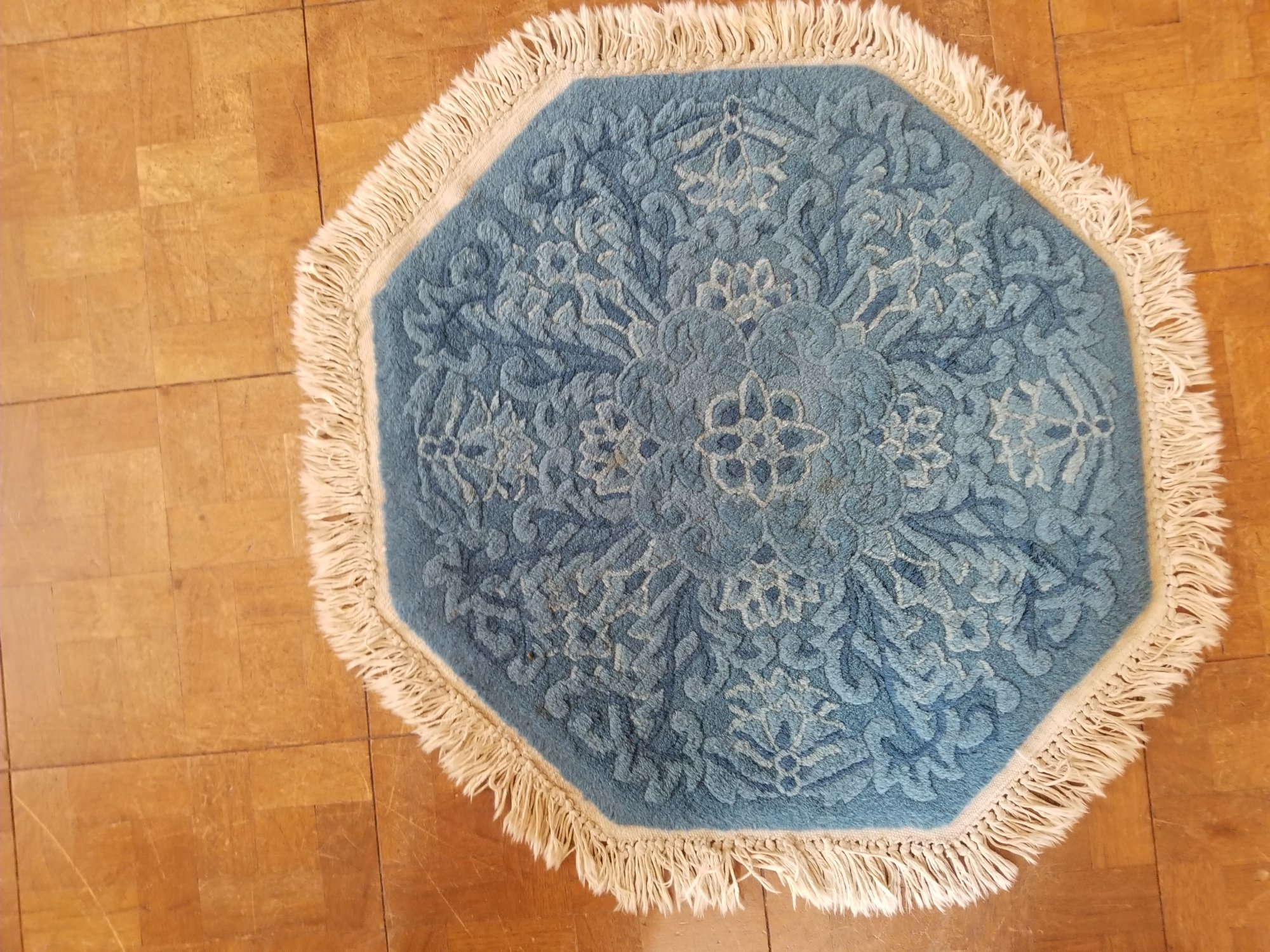 2'3 X 2'5 Chinese blue octagonal carved rug with a carved flower motif  SX