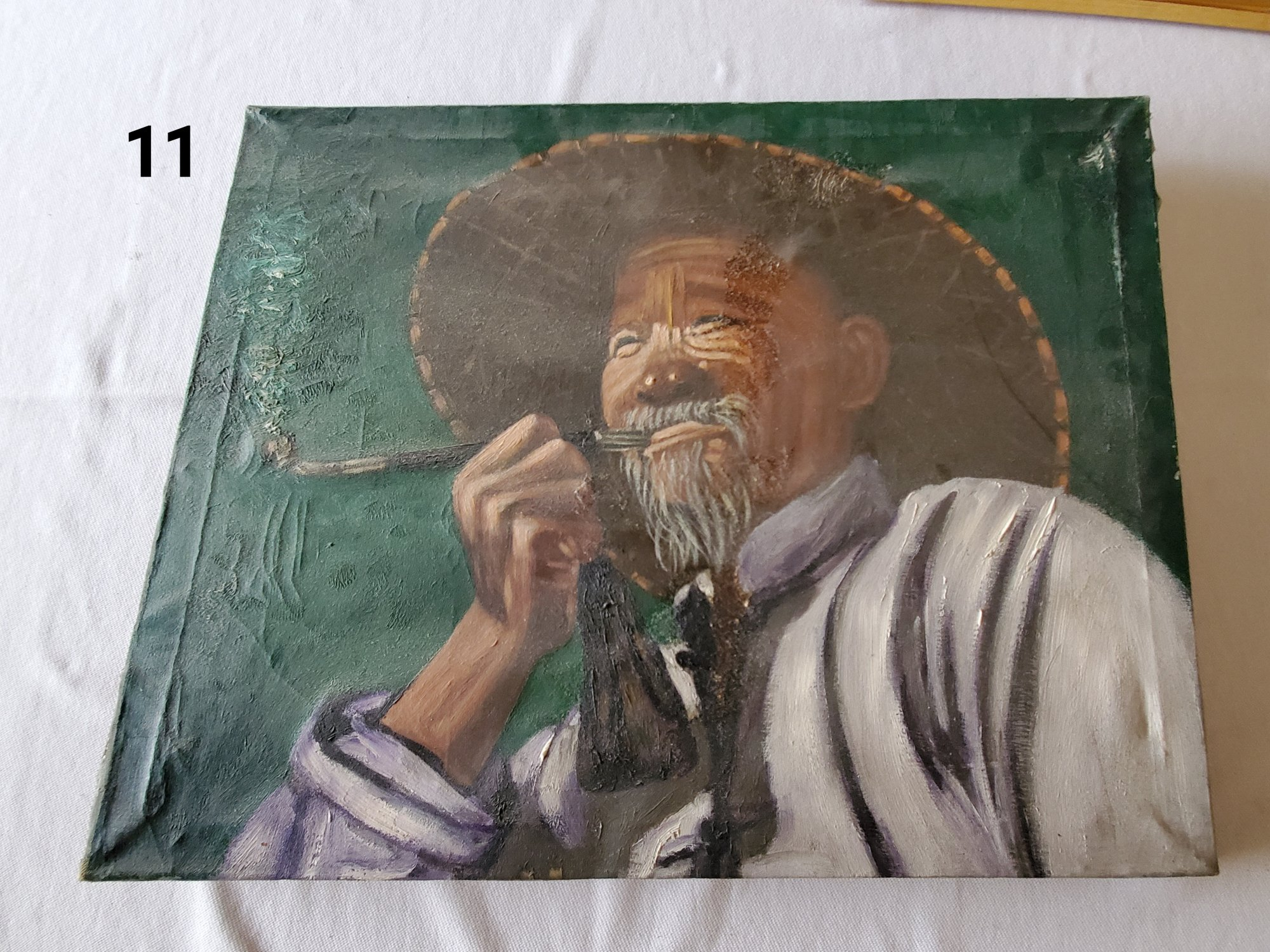 Large oil painting of an old Thai man in a hat with an opium pipe  DX