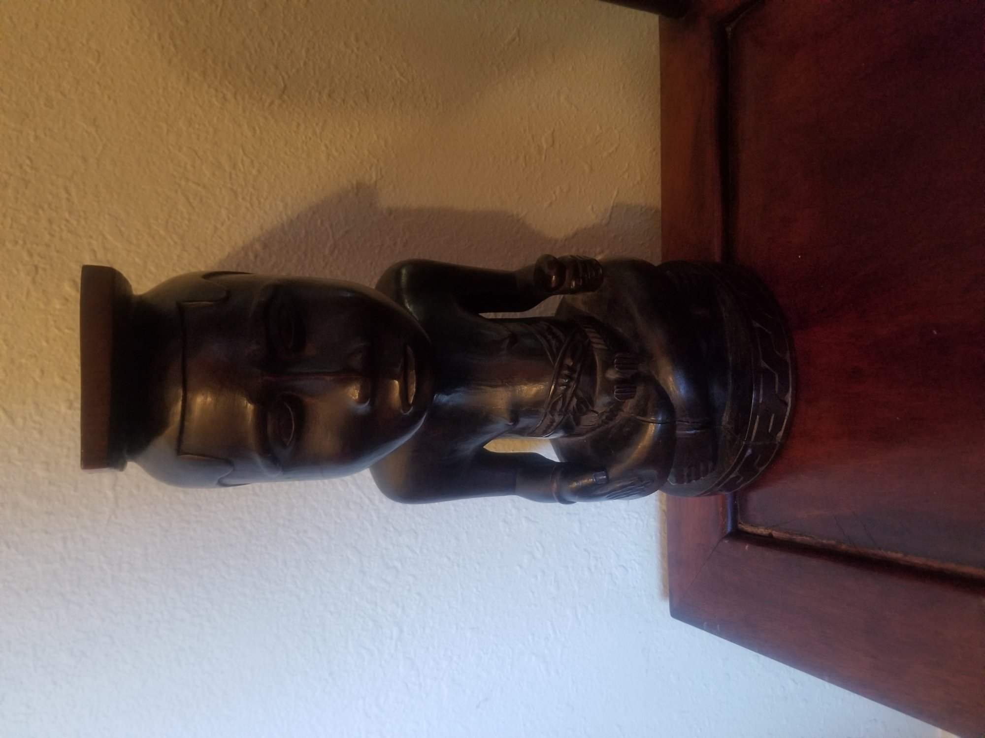 Small wood African statue/stool hand carved figure of a man PXT
