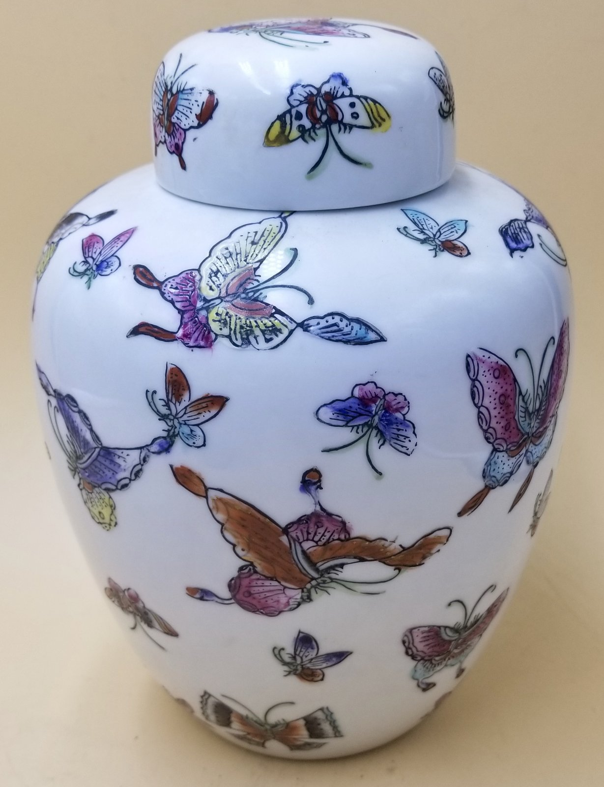 Japanese porcelain jar with lid white jar with butterfly design Con. HX