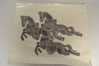 Thai temple rubbing of three horses    TX
