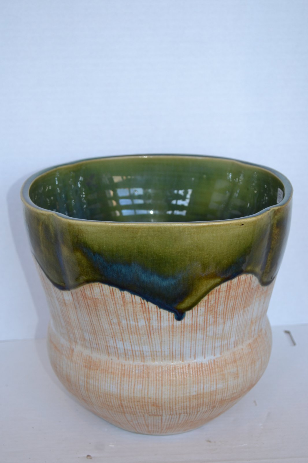 1950's Japanese Green, Blue, Rust colored Planter H.10 X W. 11