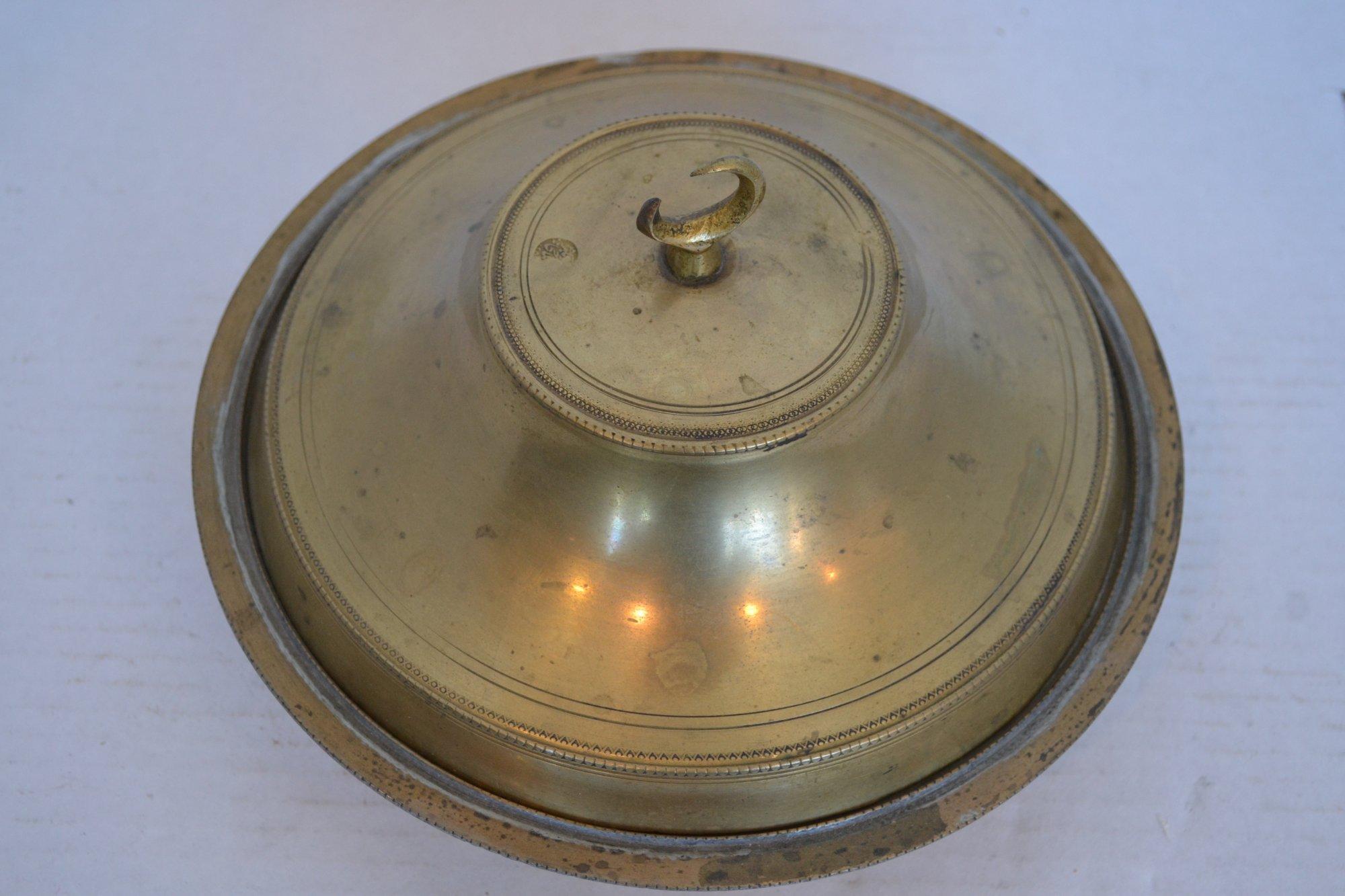 19th Century Turkish Brass Incense Burner w/ lid H.4.5 X W.9