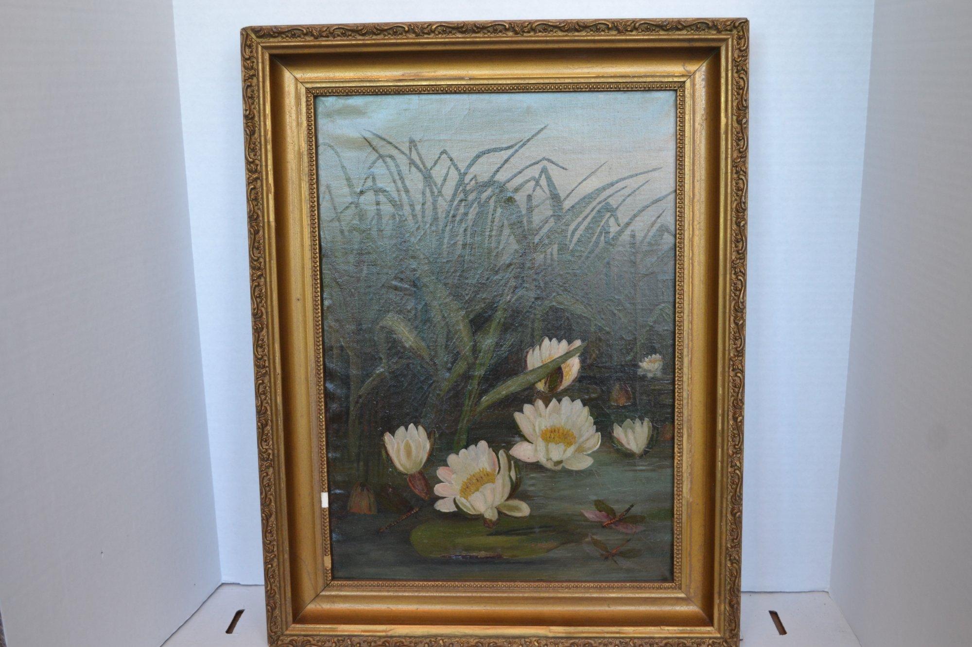 20th century chinese marsh painting w lotus leaves and white lotus 20th century chinese marsh painting w lotus leaves and white lotus flowers oil on canvas gold mightylinksfo