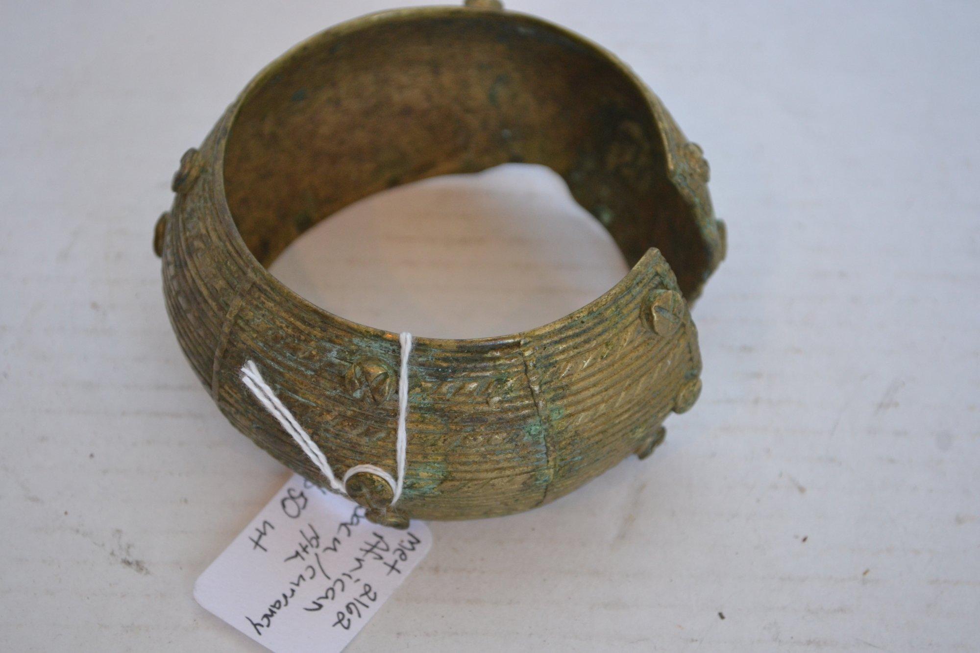 19th Century African Metal Bacu/ Currency bracelet H. 2 X W. 3.5