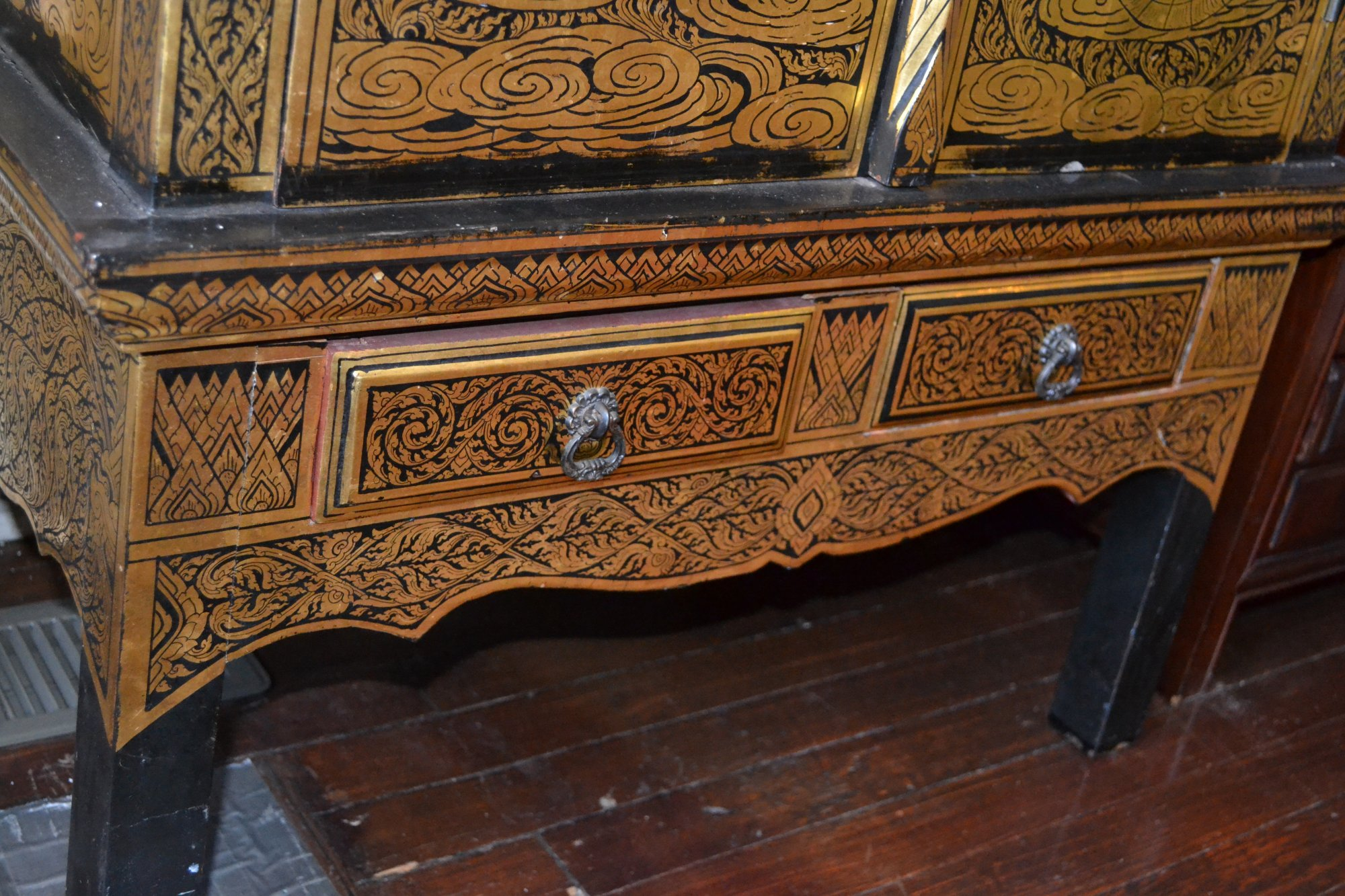 19th Century Thai Monastery Chest Gold and Black Lacquer Chest 2 doors over 2 drawers H. 48 X W. 27 X D. 18