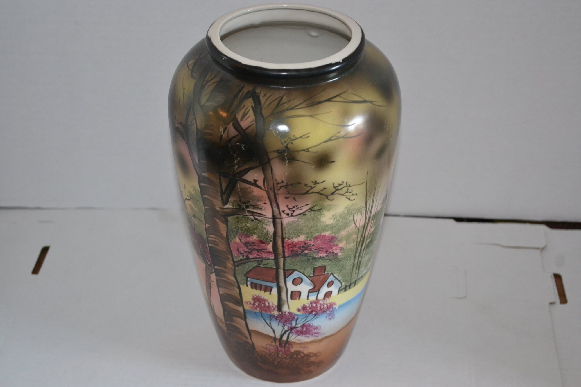 20th Century Handpainted Japanese vase w/ house and lake landscape H. 12 X W. 7
