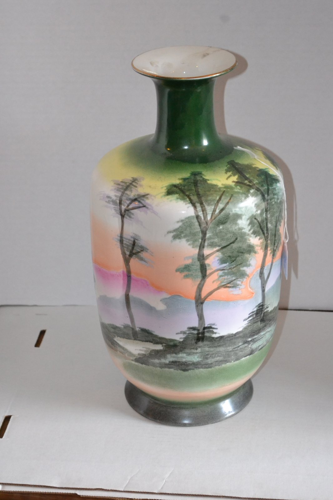 20th Century Handpainted Japanese vase w/ landscape of trees, mountains and a lake. H. 16 X W. 9