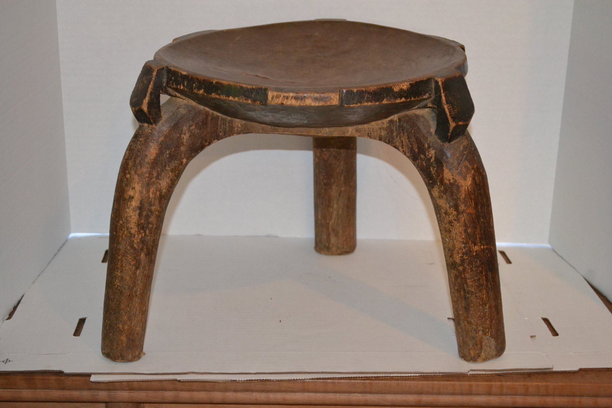19th Century African Wooden Stool Congo Tribe H. 12 X W. 14