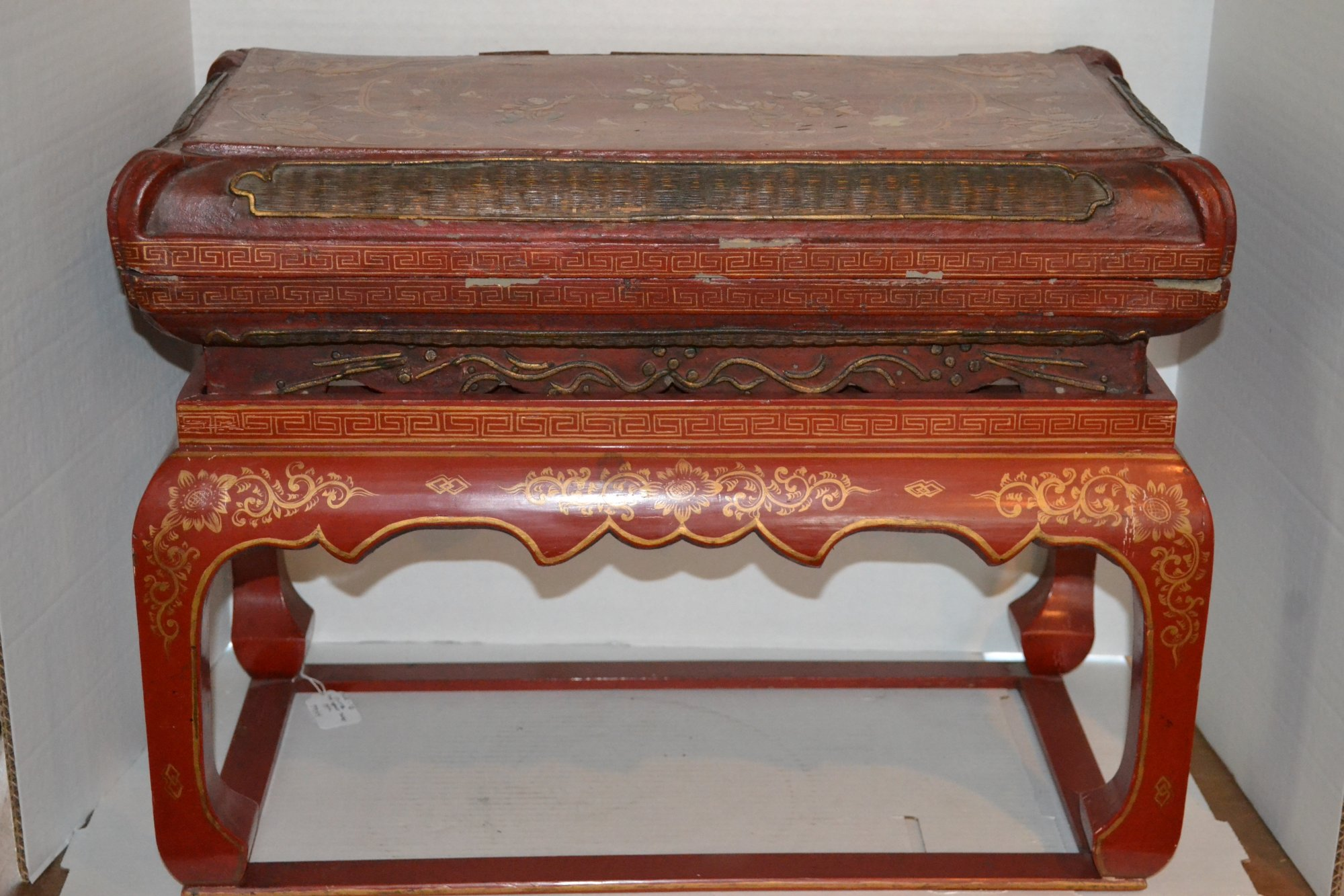 20th Century Chinese Red Lacquer Table w/ stretcher (Food server) H. 21 X W. 23 X 10