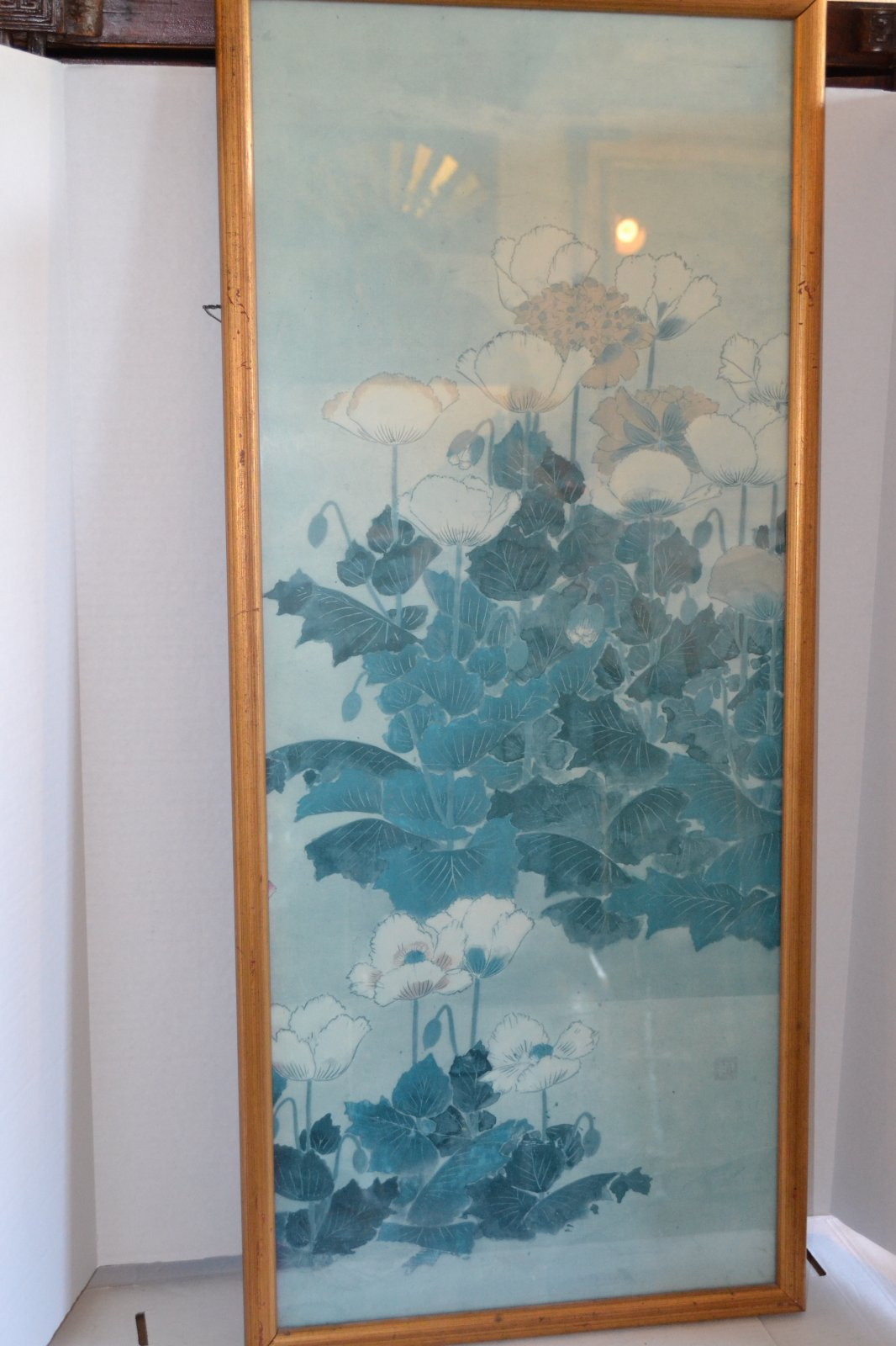 20th Century Blue floral, Framed & Glazed Print on blue background, Gold Painted frame H. 40 X W. 17