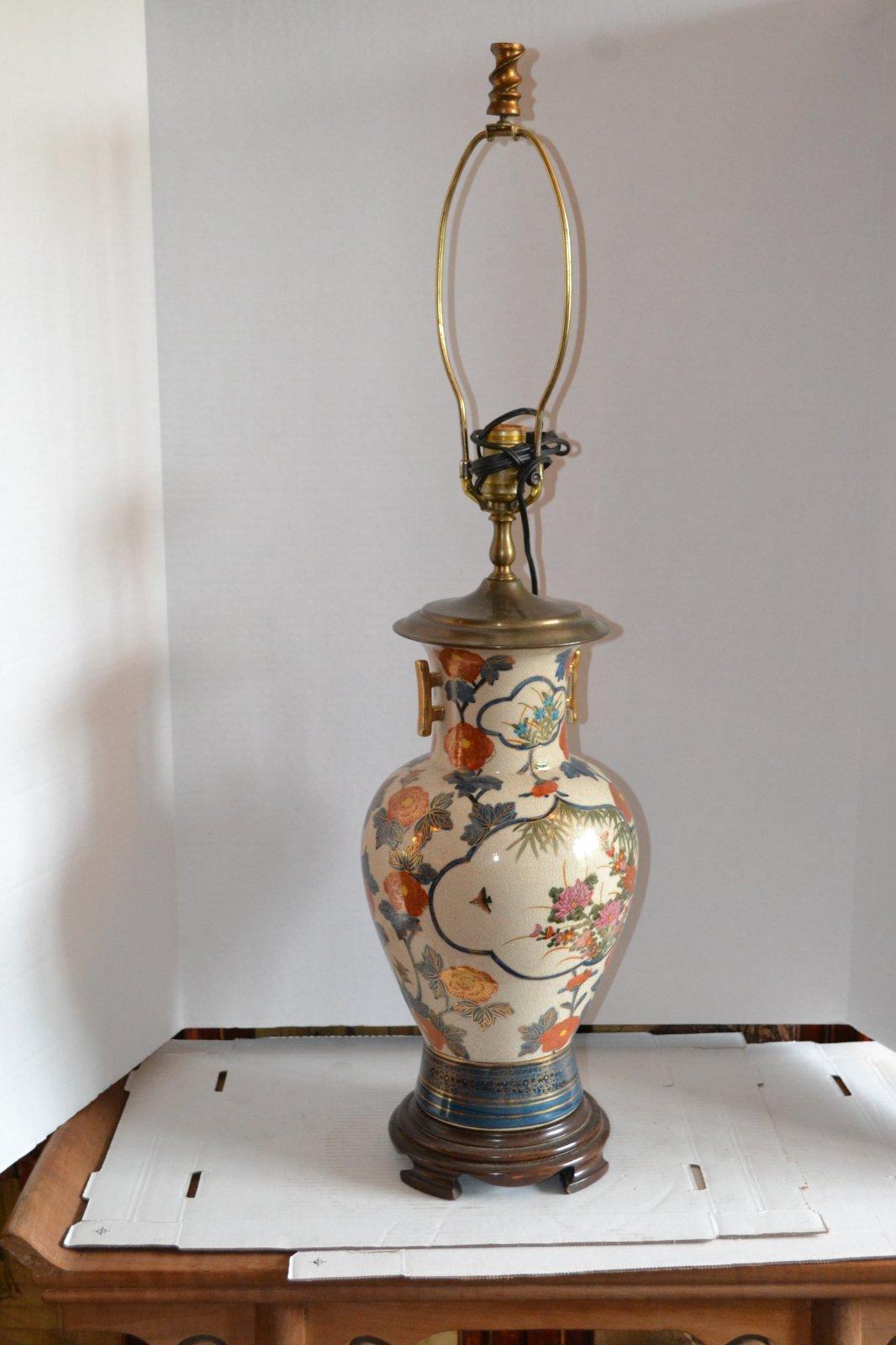 20th Century Decorative Art crackle glazed porcelain lamp wooden base, greenish color H. 27 X W. 9