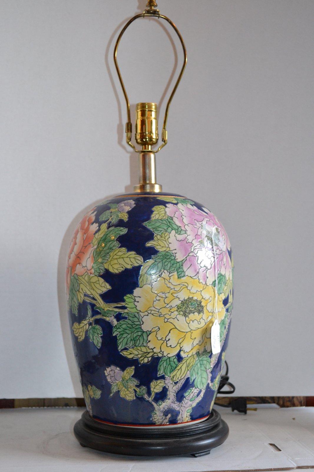 20th Century Decorative Art Handpainted Porcelain Lamp w/ wooden base, blue background, blue & orange flowers & birds H. 26 X W. 9