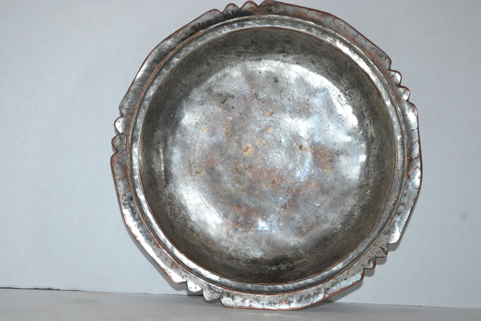 20th Century Middle Eastern Tin & Copper Dish Dia. 9, Lebanonese