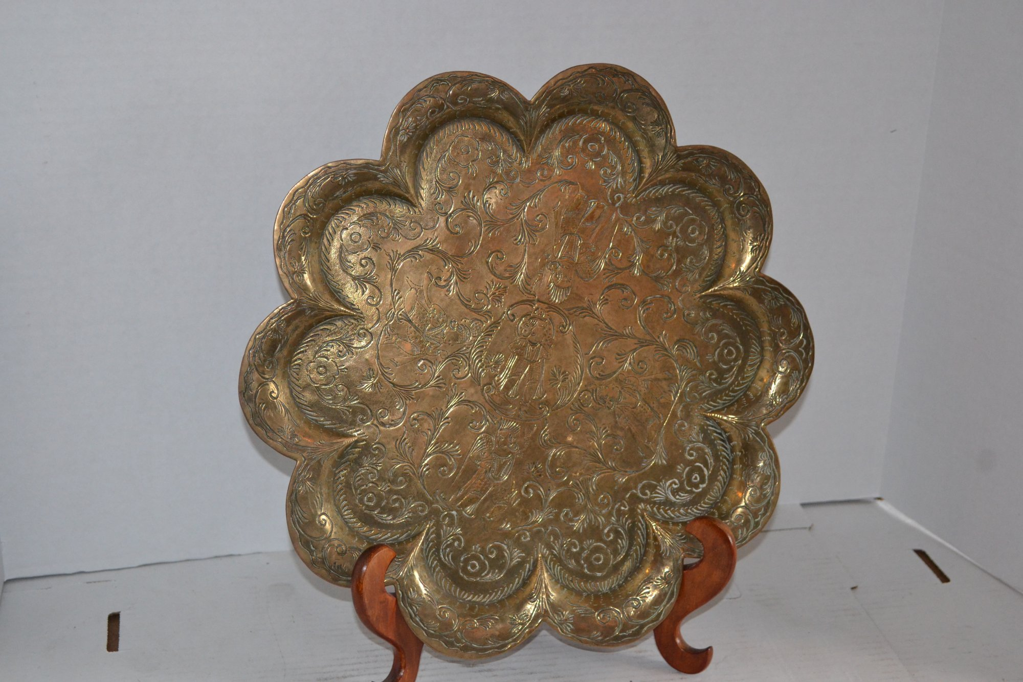 19th Century Perisan Brass Charger Dia. 13 1/2