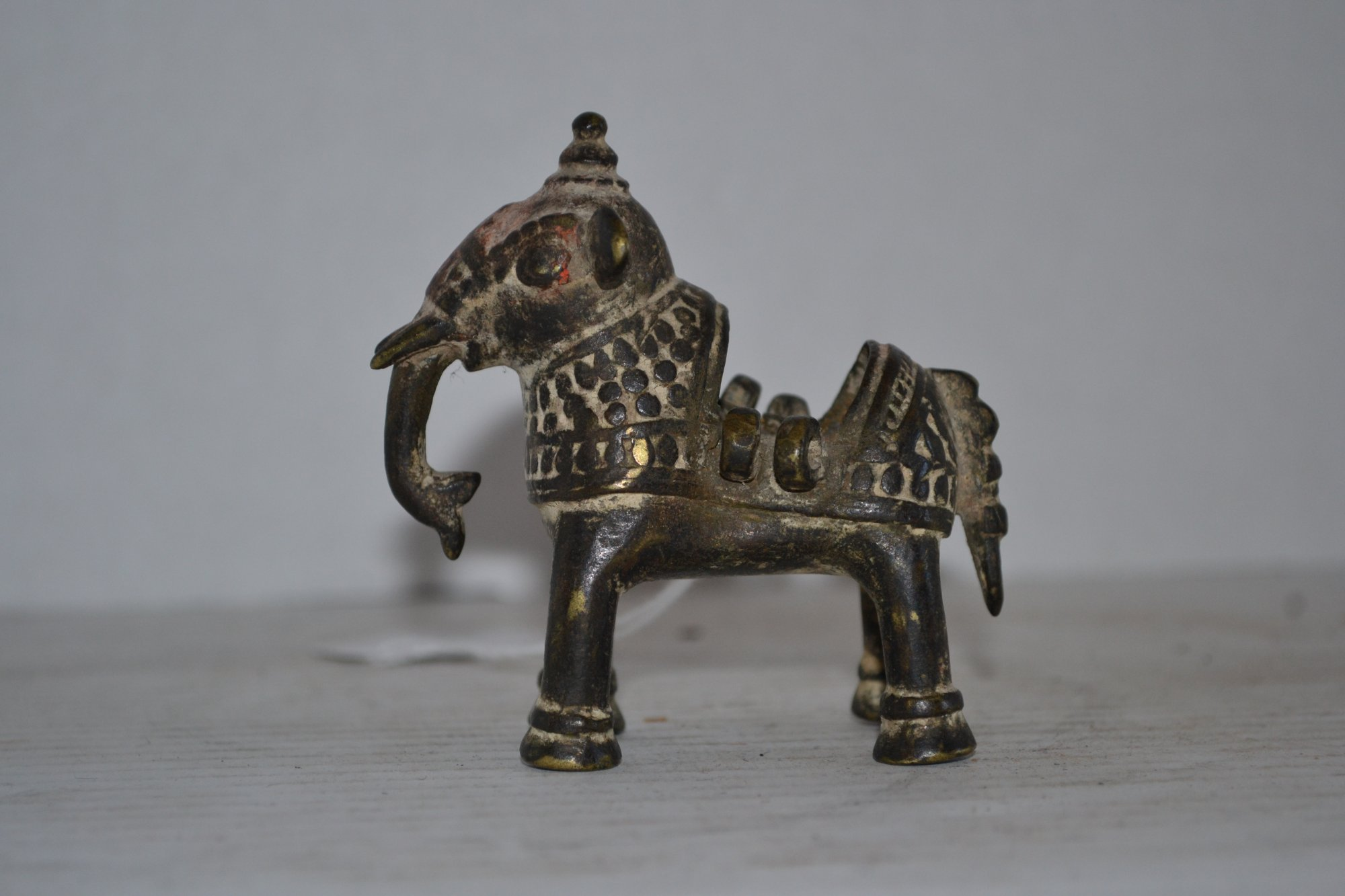 17th Century Indian Bronze Elephant w/ trunk down H. 3 X W. 3