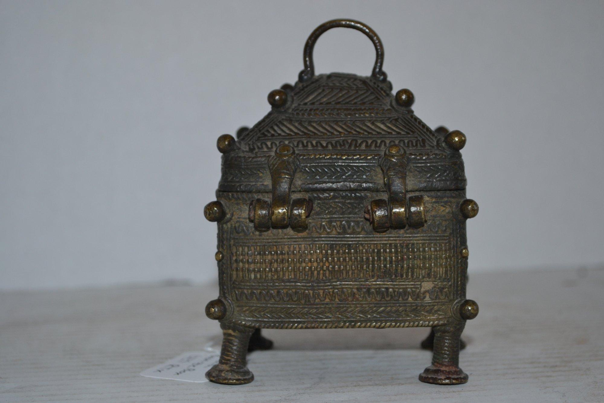 17th Century Indian Bronze Box H. 5 X W. 3