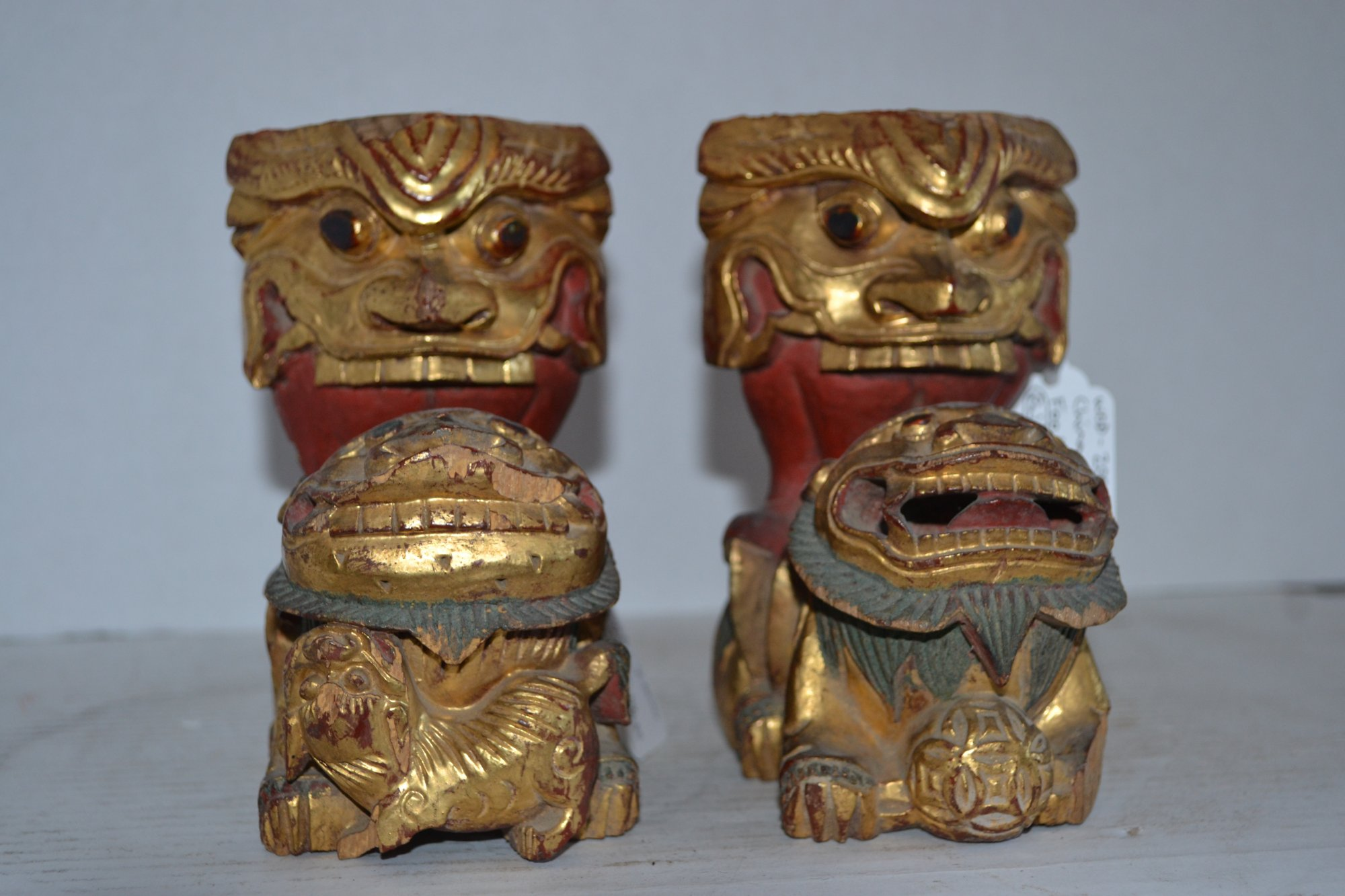 20th Century (Pair) Chinese Wooden Foo Lions H. 6 X W. 5
