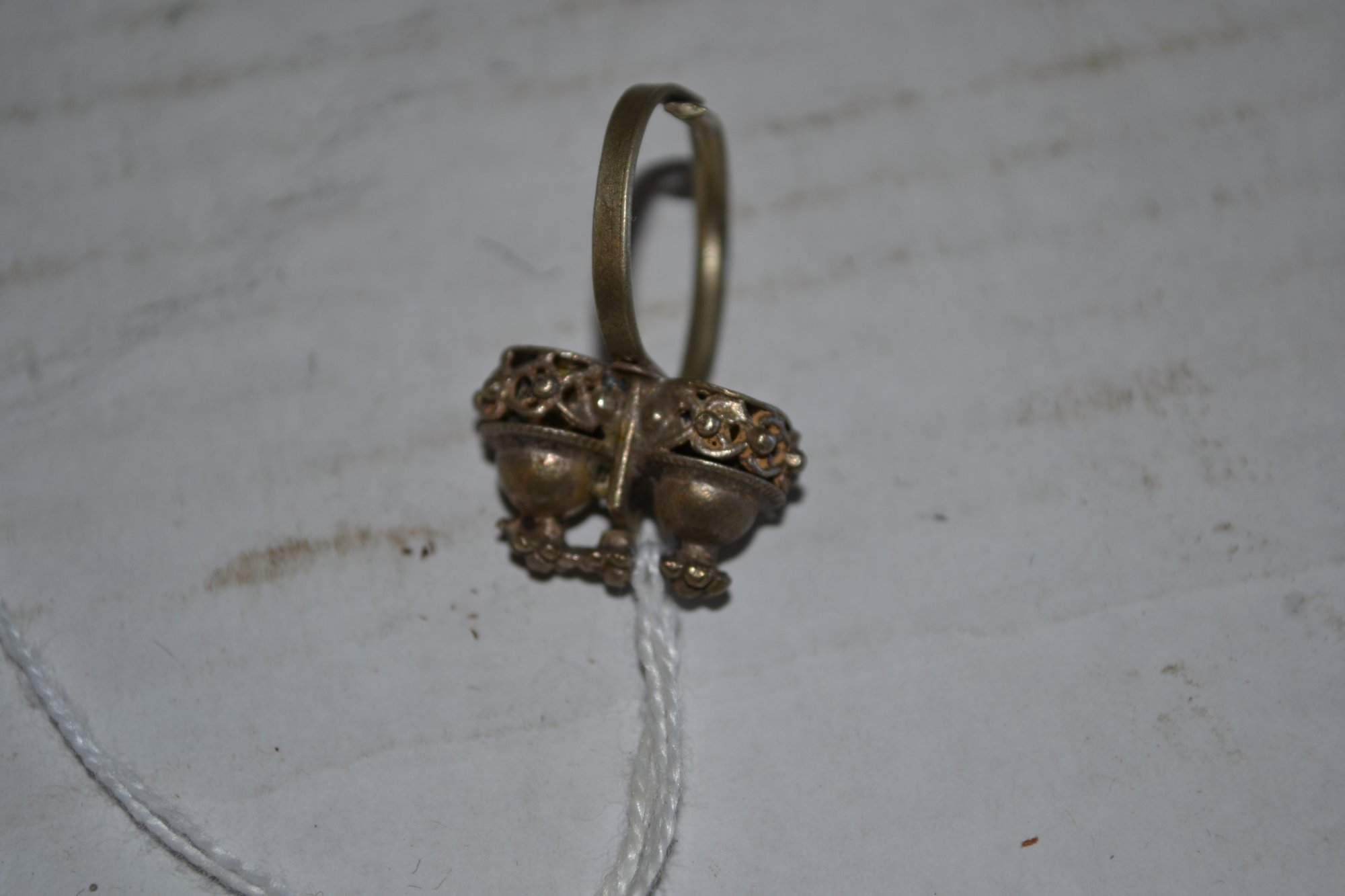 19th Century Indian Metal Bell Ring H. 1