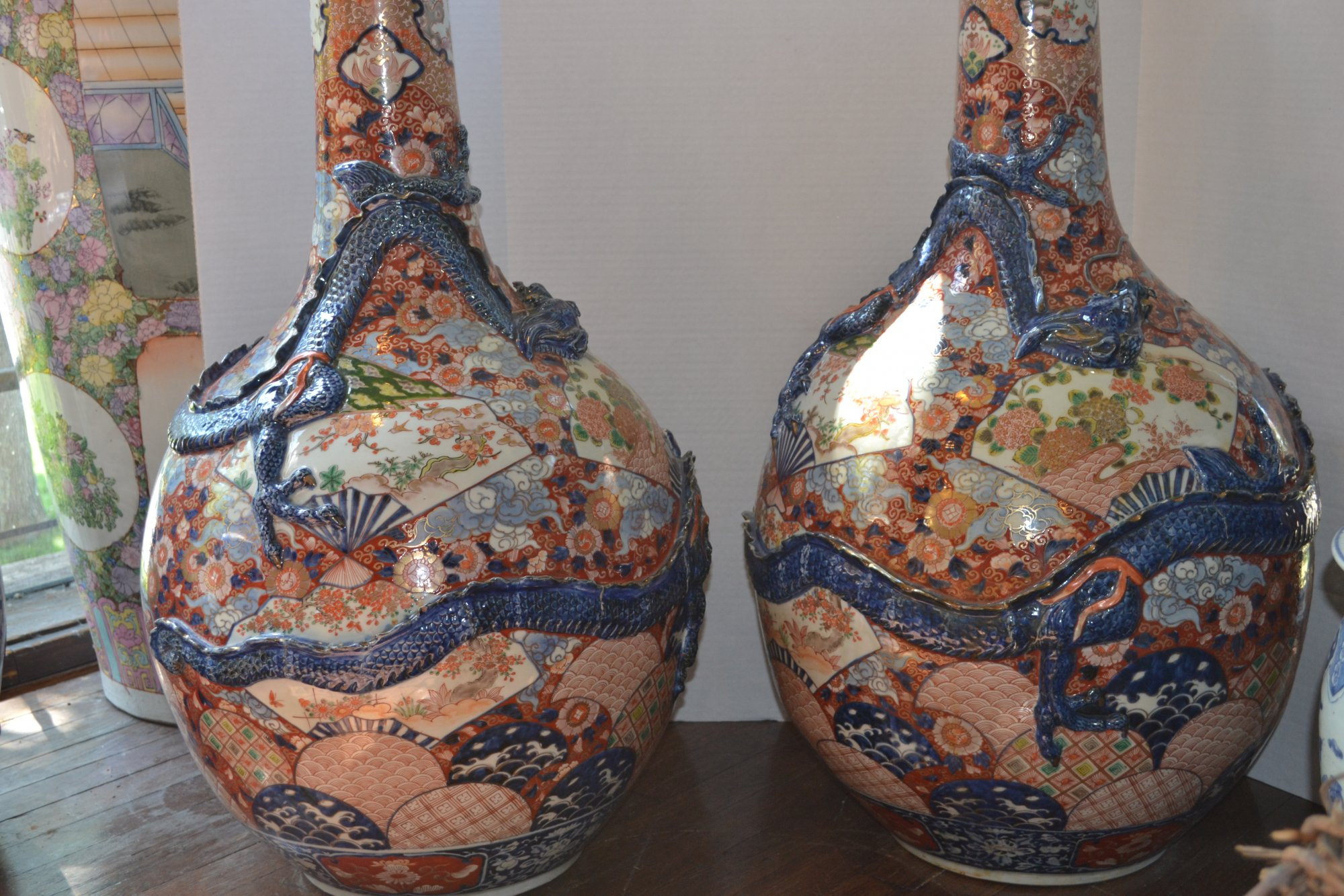 19th Century Pair of Large Japanese Imari Vases w/ blue dragon relief designs H. 36 X W. 18