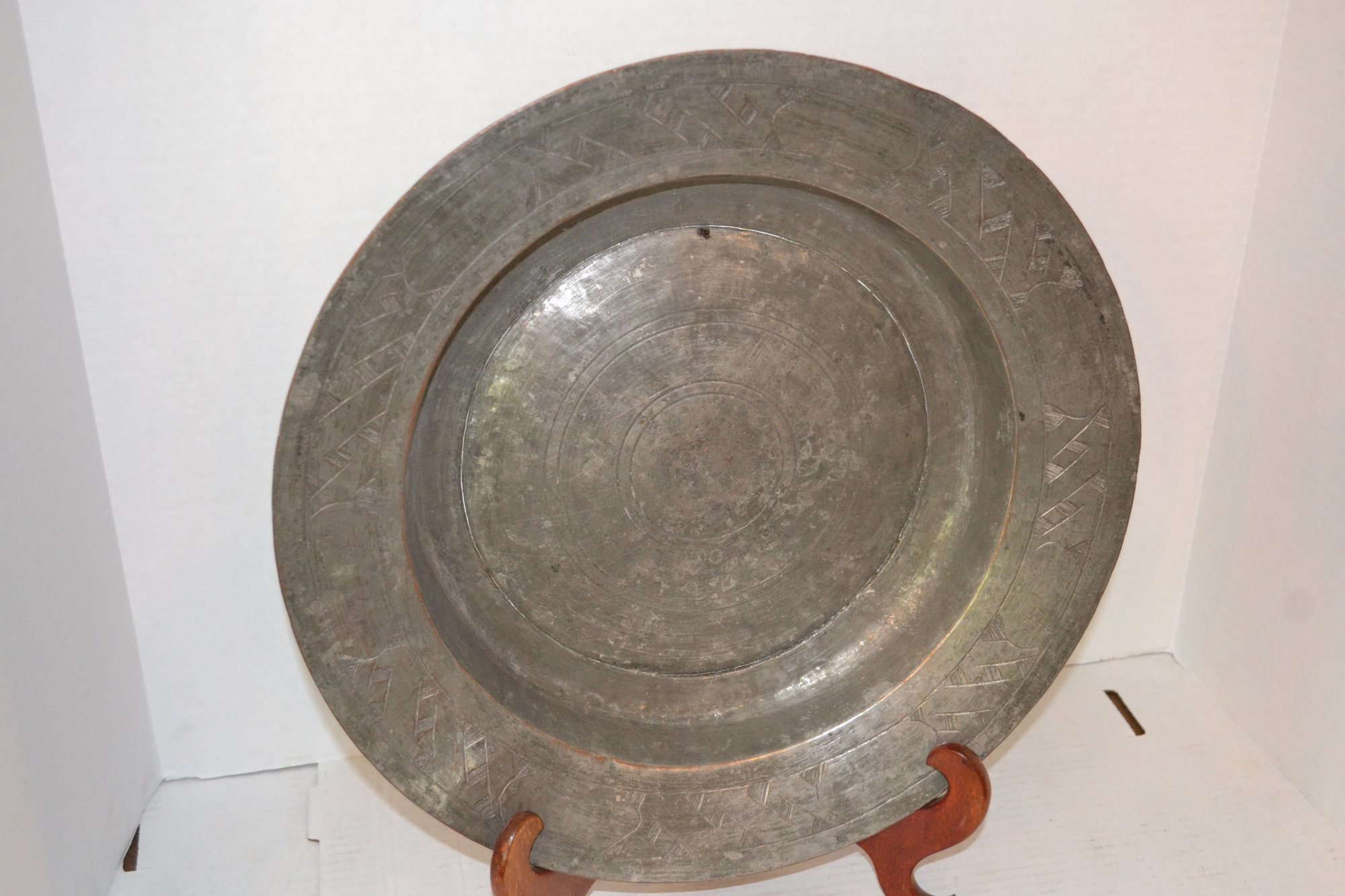 19th Century Persian Copper & Pewter dish Dia. 15