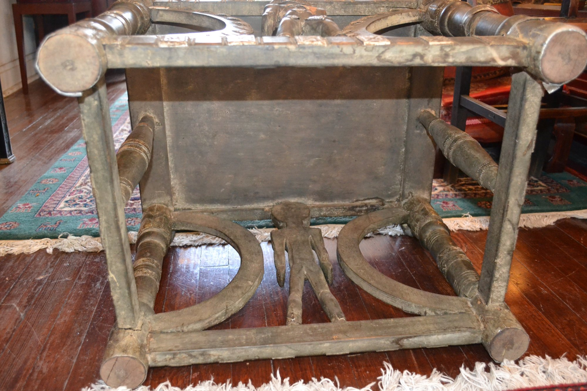 19th Century African Tribal Wooden Chairs w/ metal Decoration H. 38 X W. 31 X 17